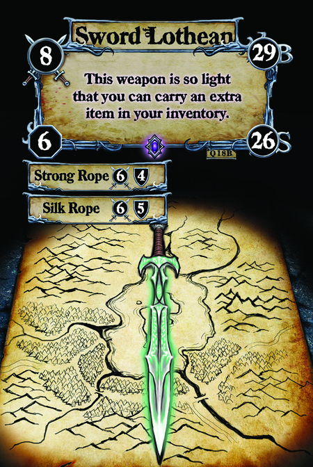 Sword of Lothean This weapon is so light that you can carry an extra item in your inventory.  (C. 1) Strong Rope (C. 2) Silk Rope