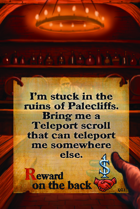 I'm stuck in the ruins of Palecliffs. Bring me a Teleport scroll that can teleport me somewhere else.  Reward on the back