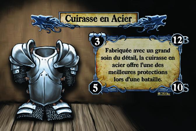 Cuirasse en Acier Fabriquée avec un grand soin du détail, la cuirasse en acier offre l'une des meilleures protections lors d'une bataille.