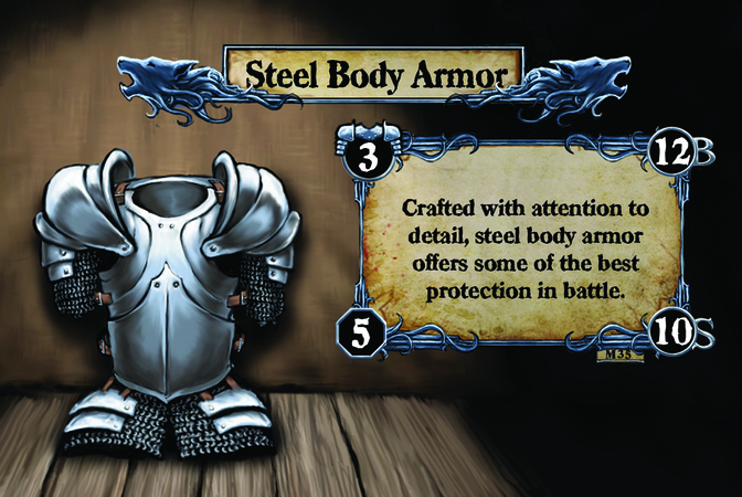 Steel Body Armor Crafted with attention to detail, steel body armor offers some of the best protection in battle.