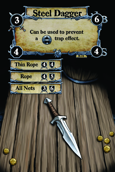 Steel Dagger Can be used to prevent a {T.I.} trap effect.  (C. 1) Thin Rope (C. 2) Rope (C. 3) All Nets