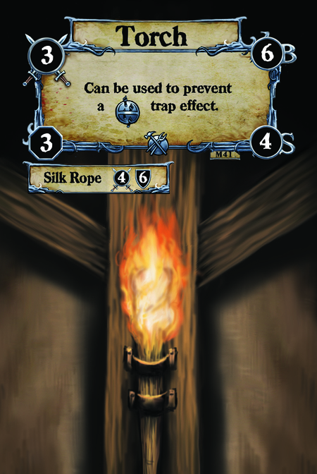 Torch Can be used to prevent a {T.I.} trap effect.  (C. 1) Silk Rope