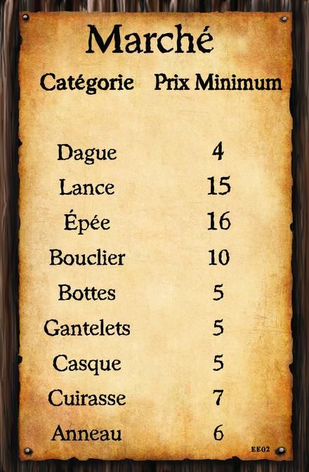 (Carte Marché 2)  Catégorie Prix Minimum Dague Lance Épée Bouclier Bottes Gantelets Casque Cuirasse Anneau
