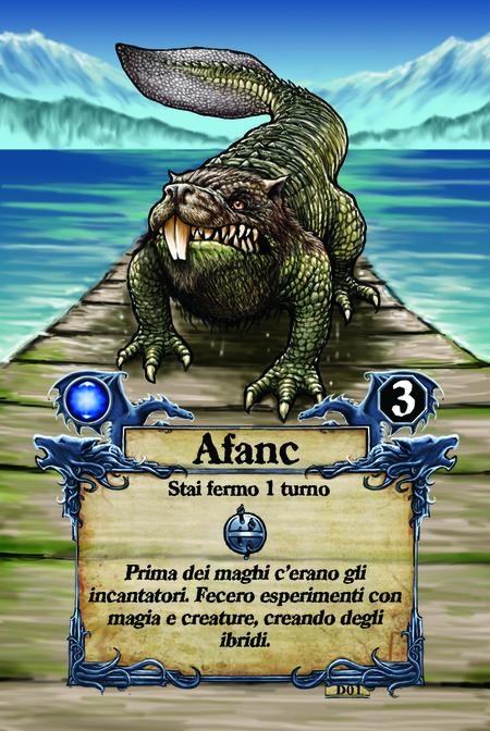 Afanc  Stai fermo 1 turno  Prima dei maghi c'erano gli incantatori. Fecero esperimenti con magia e creature, creando degli ibridi.